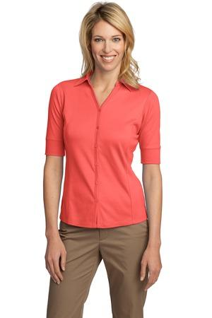 Ladies Silk Touch Button-Front Sport Shirt. L523.