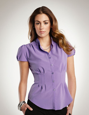 LB751 Serena - Lilac Bloom Women's Short Sleeve Shirt